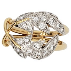 Tiffany & Co. Schlumberger Two Leaves Ring, Platinum and 18 Karat Yellow Gold