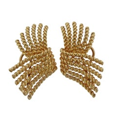 Tiffany & Co. Schlumberger V Rope Gold Earrings
