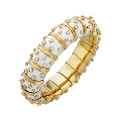 Tiffany & Co. Schlumberger White Enamel Diamond Bangle Bracelet, 21st Century