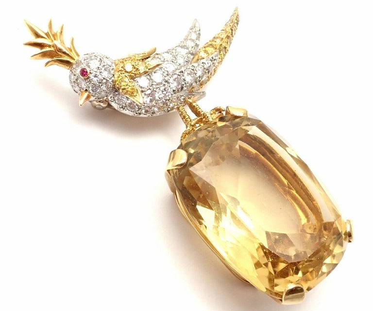Tiffany & Co Schlumberger Yellow and White Diamond Citrine Bird-on-a-Rock Brooch For Sale 1