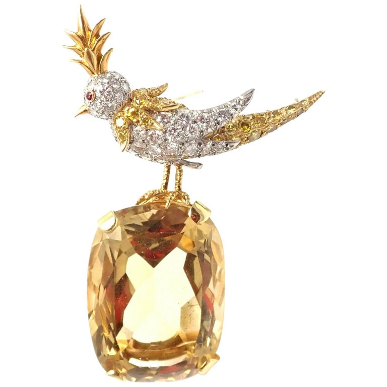 Tiffany & Co Schlumberger Yellow and White Diamond Citrine Bird-on-a-Rock Brooch For Sale