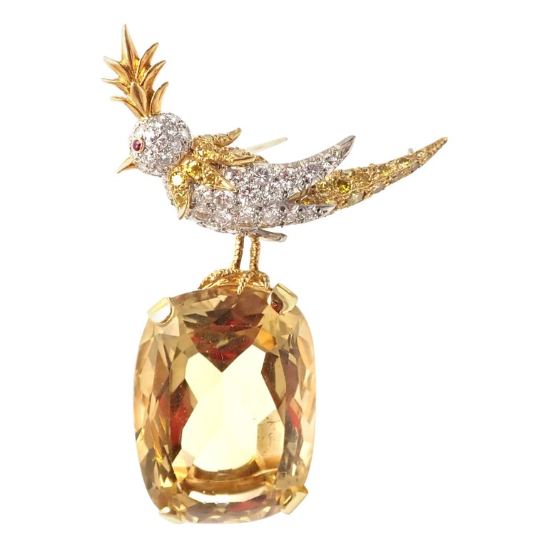 Tiffany & Co. Schlumberger Yellow and White Diamond Citrine Bird on Rock Brooch For Sale