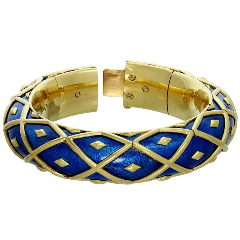 Women's Tiffany & Co. Schlumberger Yellow Gold Blue Enamel Dot Losange Bracelet For Sale