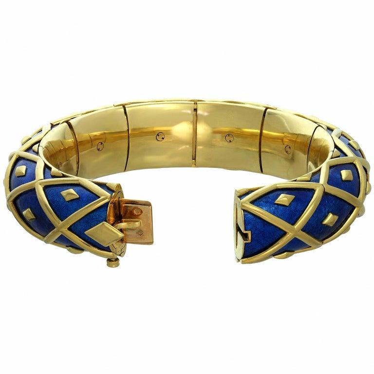 Tiffany & Co. Schlumberger Yellow Gold Blue Enamel Dot Losange Bracelet For Sale 1