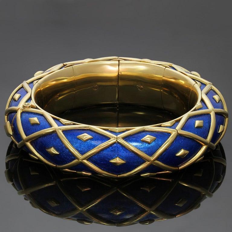 Tiffany & Co. Schlumberger Yellow Gold Blue Enamel Dot Losange Bracelet For Sale 2