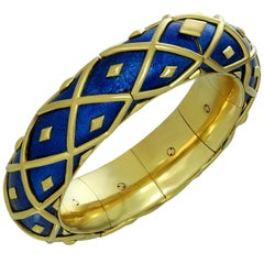 Tiffany & Co. Schlumberger Yellow Gold Blue Enamel Dot Losange Bracelet