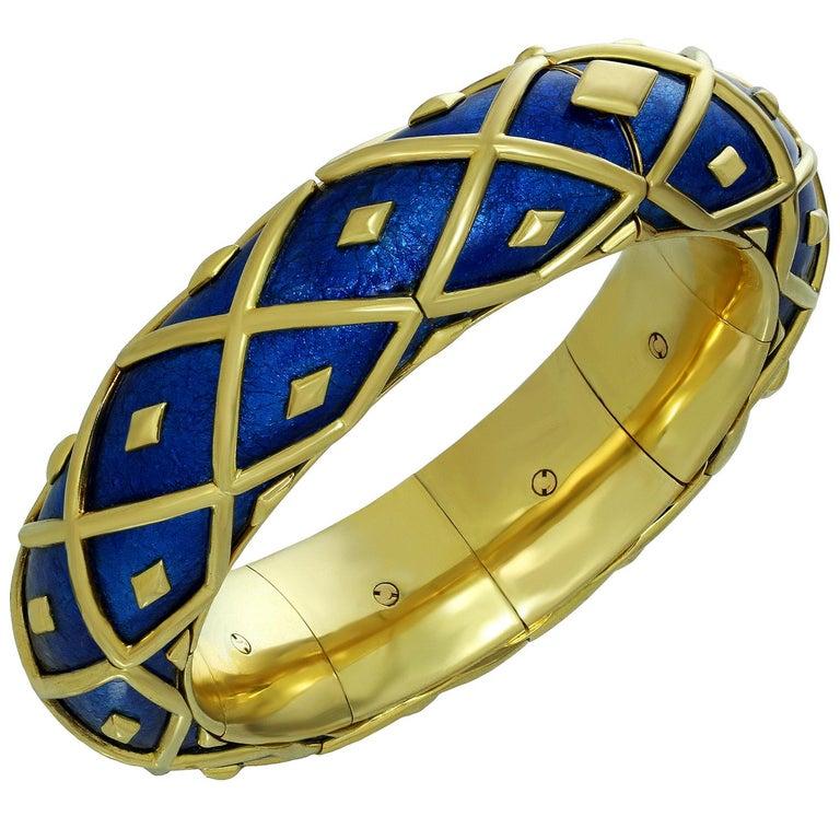 Tiffany & Co. Schlumberger Yellow Gold Blue Enamel Dot Losange Bracelet For Sale