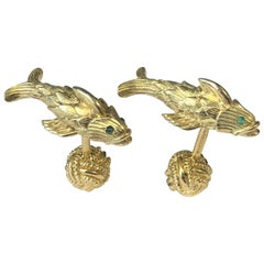 Tiffany & Co. Schlumberger Yellow Gold Fish Cufflinks