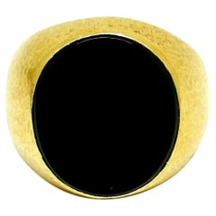 Tiffany & Co. Schlumberger Yellow Gold Onyx Signet Ring