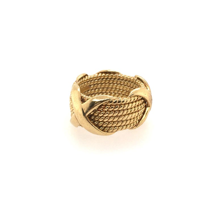 Tiffany & Co., Schlumberger Yellow Gold Rope Six-Row X-Ring In Excellent Condition In New York, NY