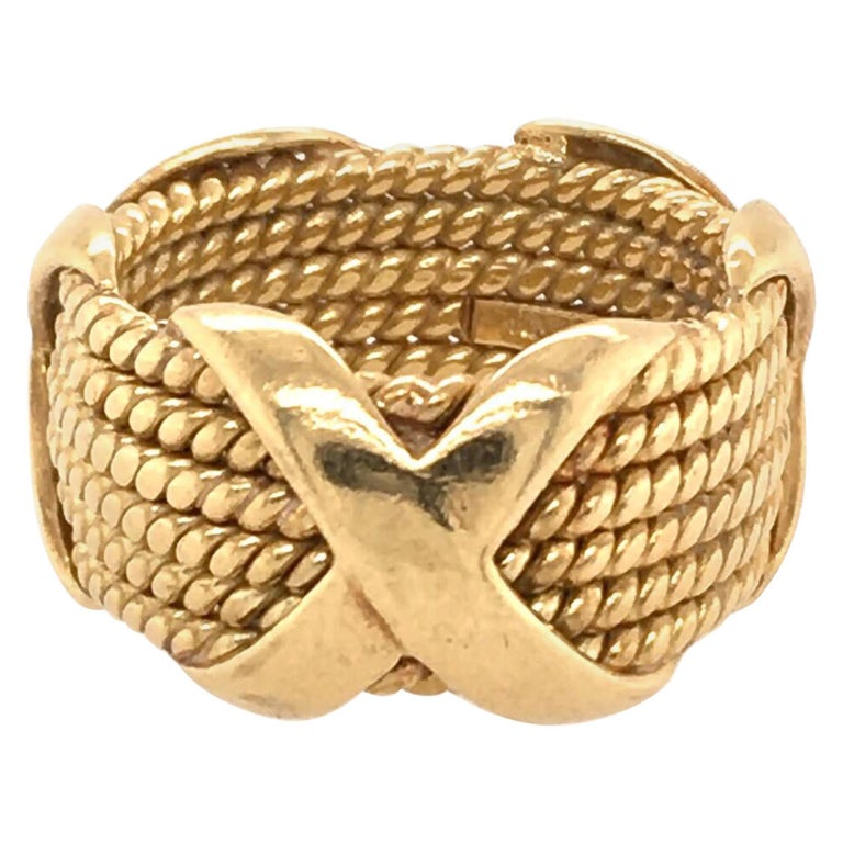 Tiffany & Co., Schlumberger Yellow Gold Rope Six-Row X-Ring