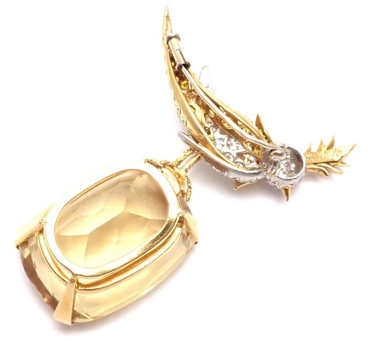 Tiffany & Co. Schlumberger Yellow and White Diamond Citrine Bird on Rock Brooch For Sale 6