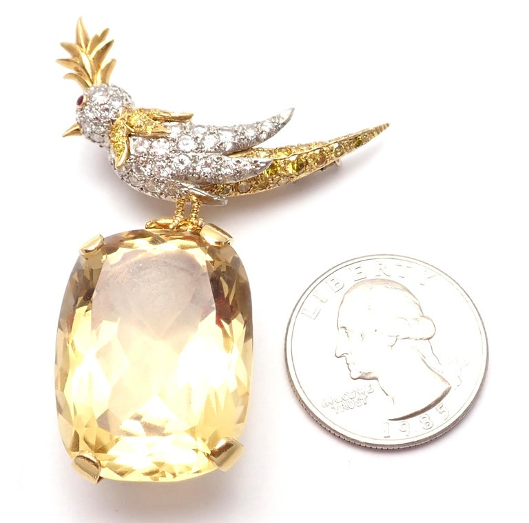 Tiffany & Co. Schlumberger Yellow and White Diamond Citrine Bird on Rock Brooch For Sale 7