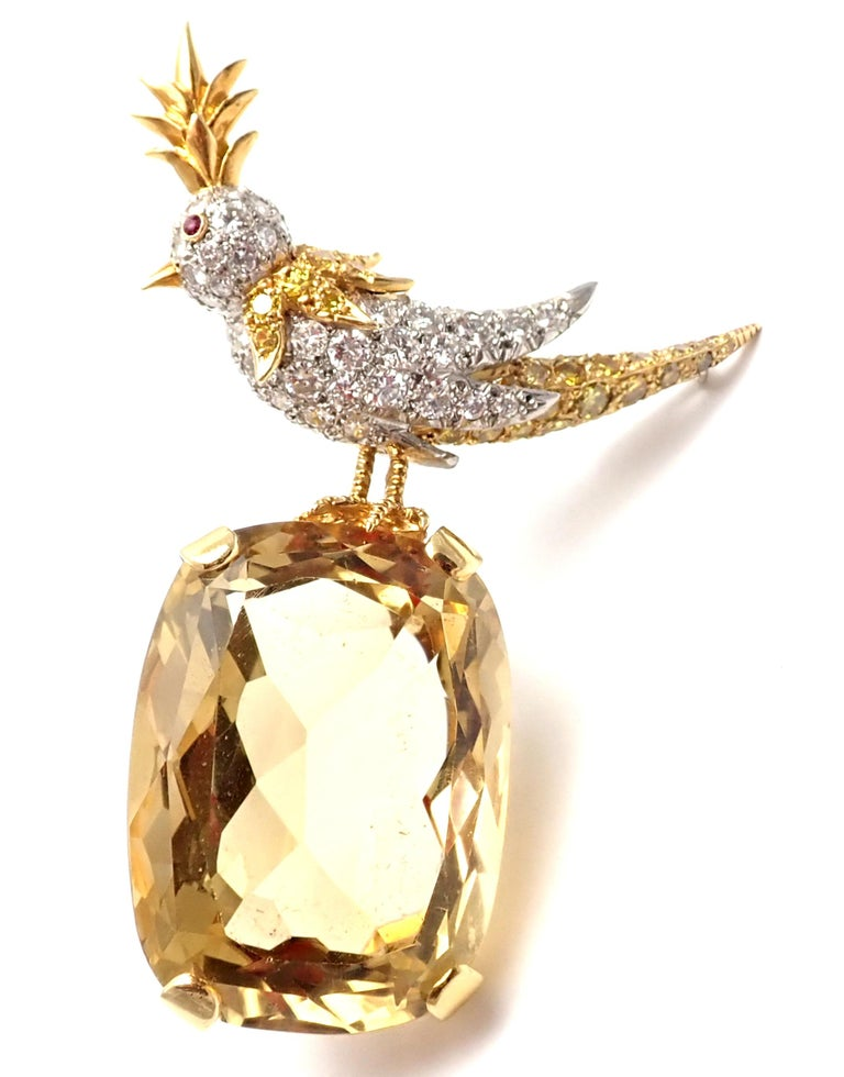 18k Yellow Gold and Platinum Yellow & White Diamond & Citrine Bird-on-a-Rock Brooch by Jean Schlumberger for Tiffany & Co. With 35 round and 34 fancy colored yellow diamonds approximately 3.30ct. 1 cushion-shaped citrine approximately 63ct