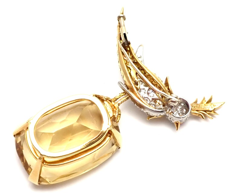 Tiffany & Co. Schlumberger Yellow and White Diamond Citrine Bird on Rock Brooch In Excellent Condition For Sale In Holland, PA