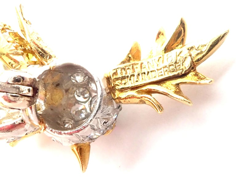 Women's or Men's Tiffany & Co. Schlumberger Yellow and White Diamond Citrine Bird on Rock Brooch For Sale