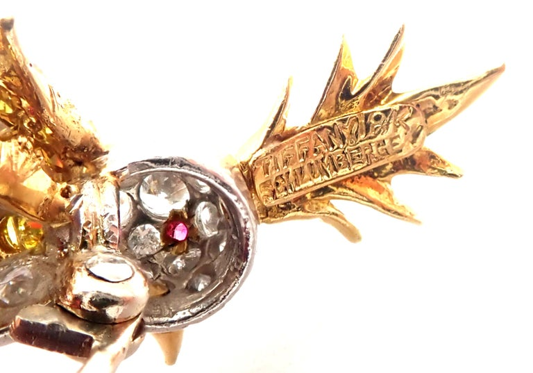 Tiffany & Co. Schlumberger Yellow and White Diamond Citrine Bird on Rock Brooch For Sale 2