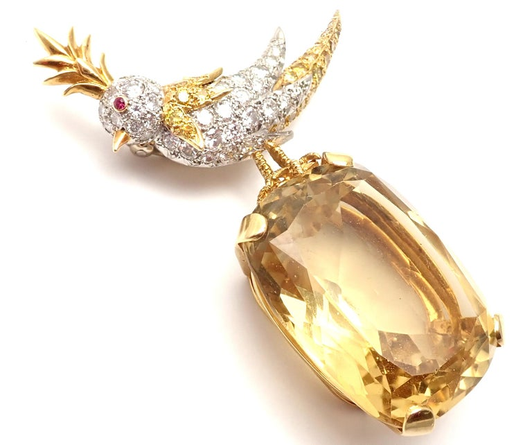 Tiffany & Co. Schlumberger Yellow and White Diamond Citrine Bird on Rock Brooch For Sale 3