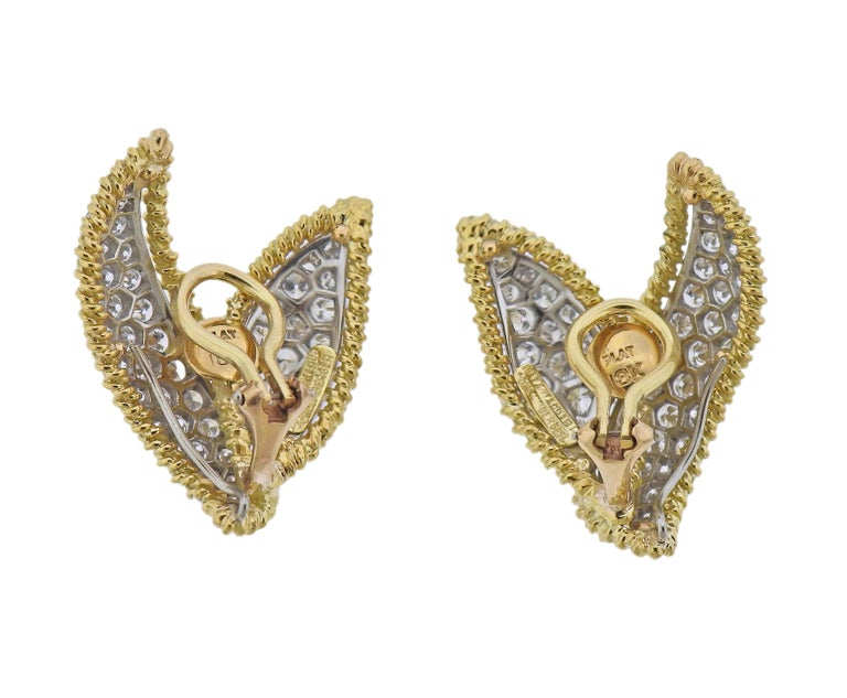Pair of 18k gold and platinum earrings by Jean Schlumberger for Tiffany & Co, set with approx. 3.60ctw in diamonds. Earrings are 29mm x 25mm. Marked: Tiffany & Co, Schlumberger, Plat 18k. Weight - 16.8 grams.