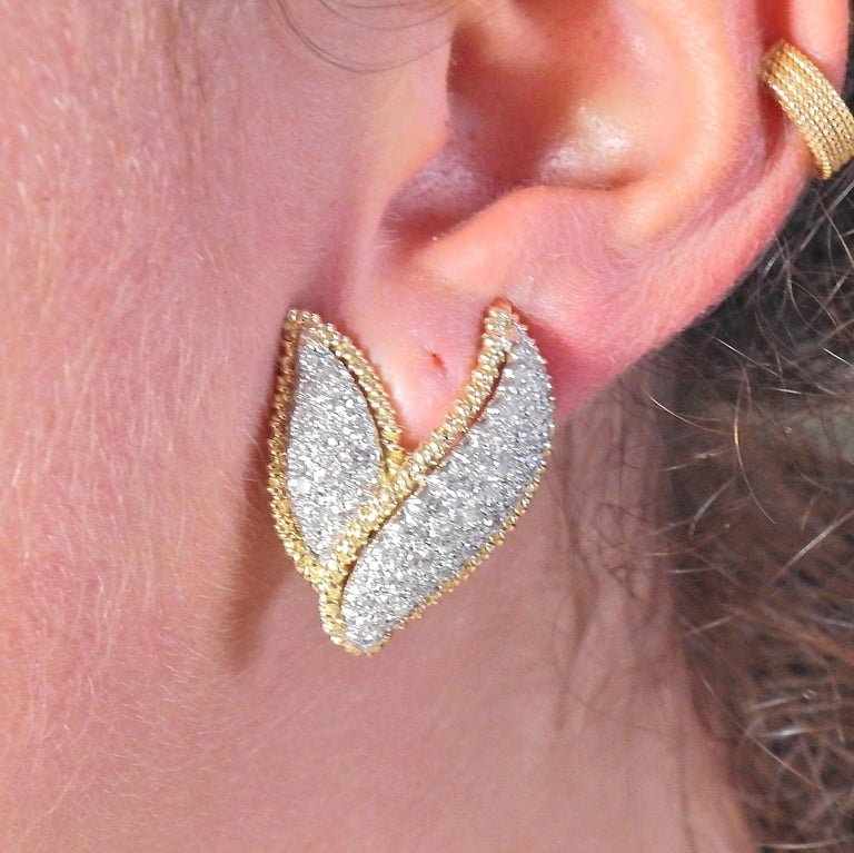 Women's Tiffany & Co. Schlumberger Diamond Gold Platinum Earrings For Sale