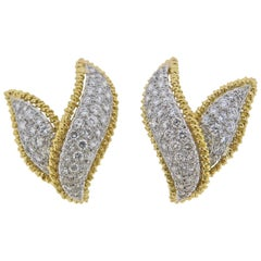 Tiffany & Co. Schlumberger Diamond Gold Platinum Earrings