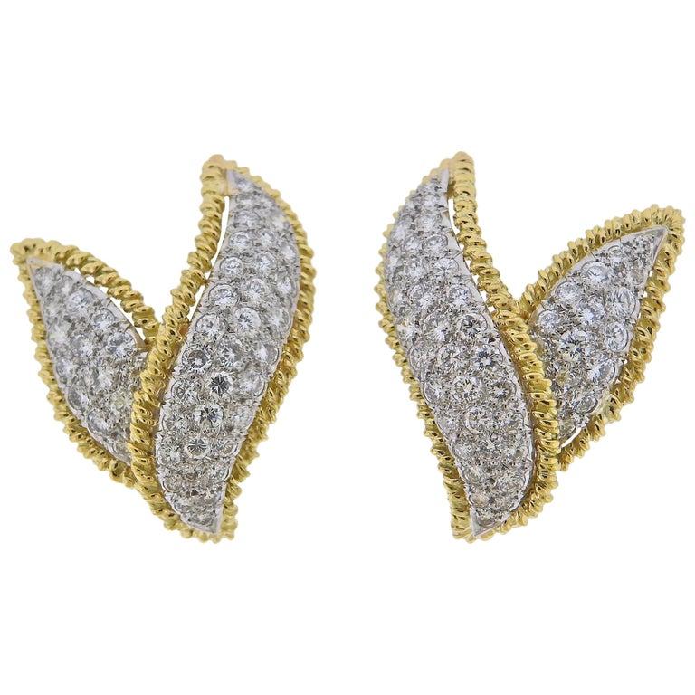Tiffany & Co. Schlumberger Diamond Gold Platinum Earrings For Sale