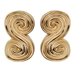 Tiffany & Co Scroll Gold Clip On Earrings