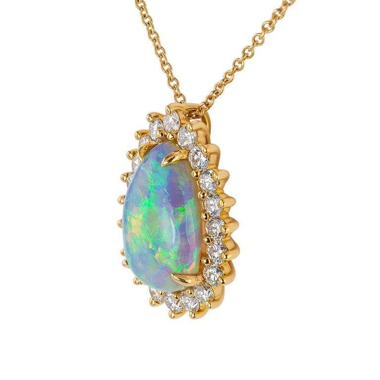 Contemporary Tiffany & Co. Semi Black Boulder Opal Diamond Yellow Gold Pendant For Sale