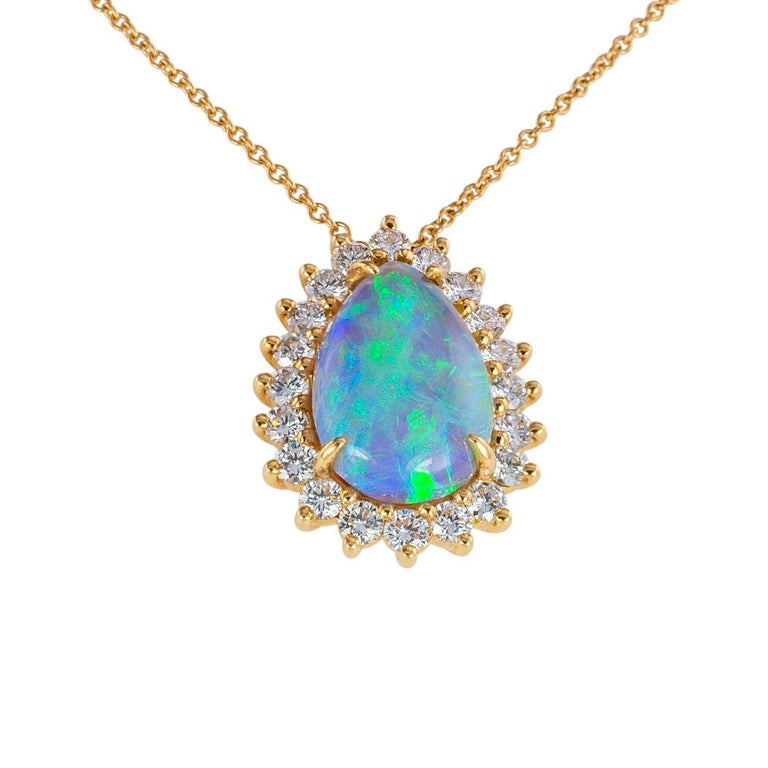Pear Cut Tiffany & Co. Semi Black Boulder Opal Diamond Yellow Gold Pendant For Sale