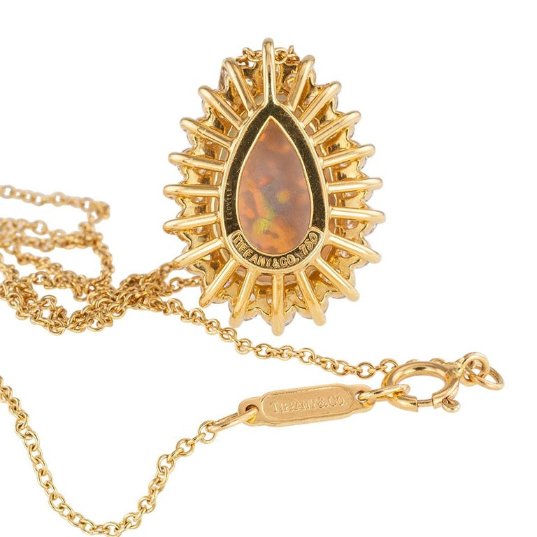 Tiffany & Co. Semi Black Boulder Opal Diamond Yellow Gold Pendant In Good Condition For Sale In Los Angeles, CA