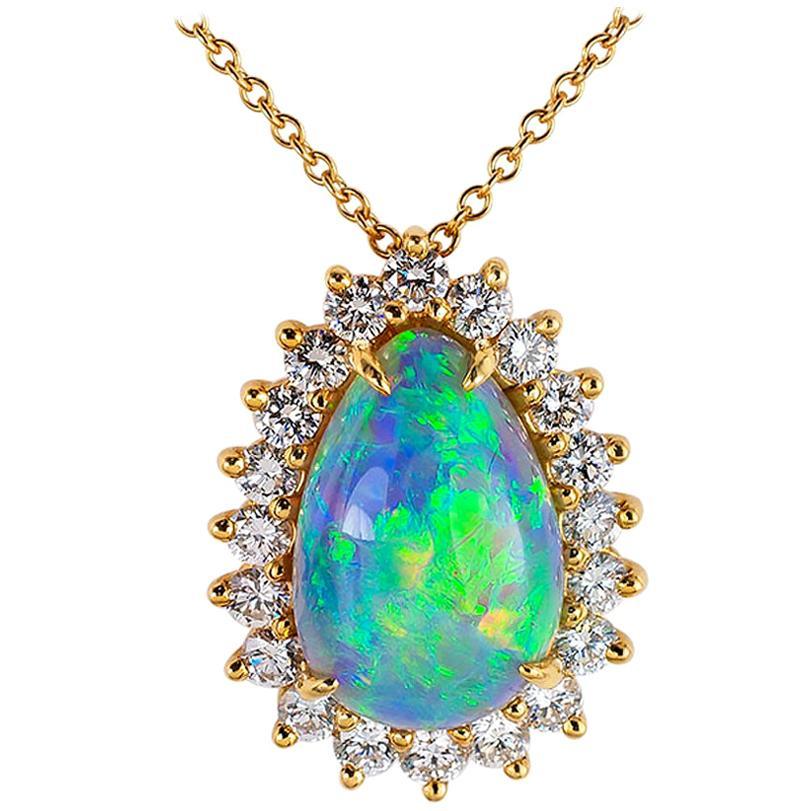 Tiffany & Co. Semi Black Boulder Opal Diamond Yellow Gold Pendant