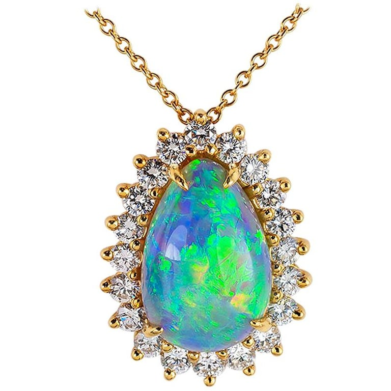 Tiffany & Co. Semi Black Boulder Opal Diamond Yellow Gold Pendant For Sale