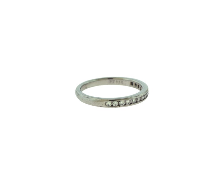 Tiffany & Co. Semi Eternity Round Diamond Platinum Wedding Band Ring In Good Condition For Sale In Miami, FL