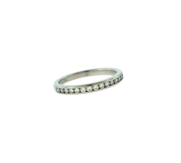 Women's or Men's Tiffany & Co. Semi Eternity Round Diamond Platinum Wedding Band Ring For Sale