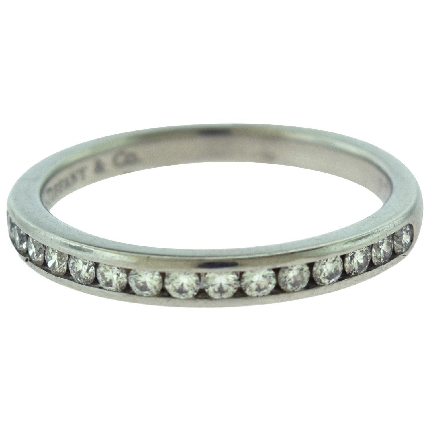 Tiffany & Co. Semi Eternity Round Diamond Platinum Wedding Band Ring