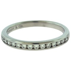 Tiffany & Co. Semi Eternity Round Diamond Platinum Wedding Band Ring