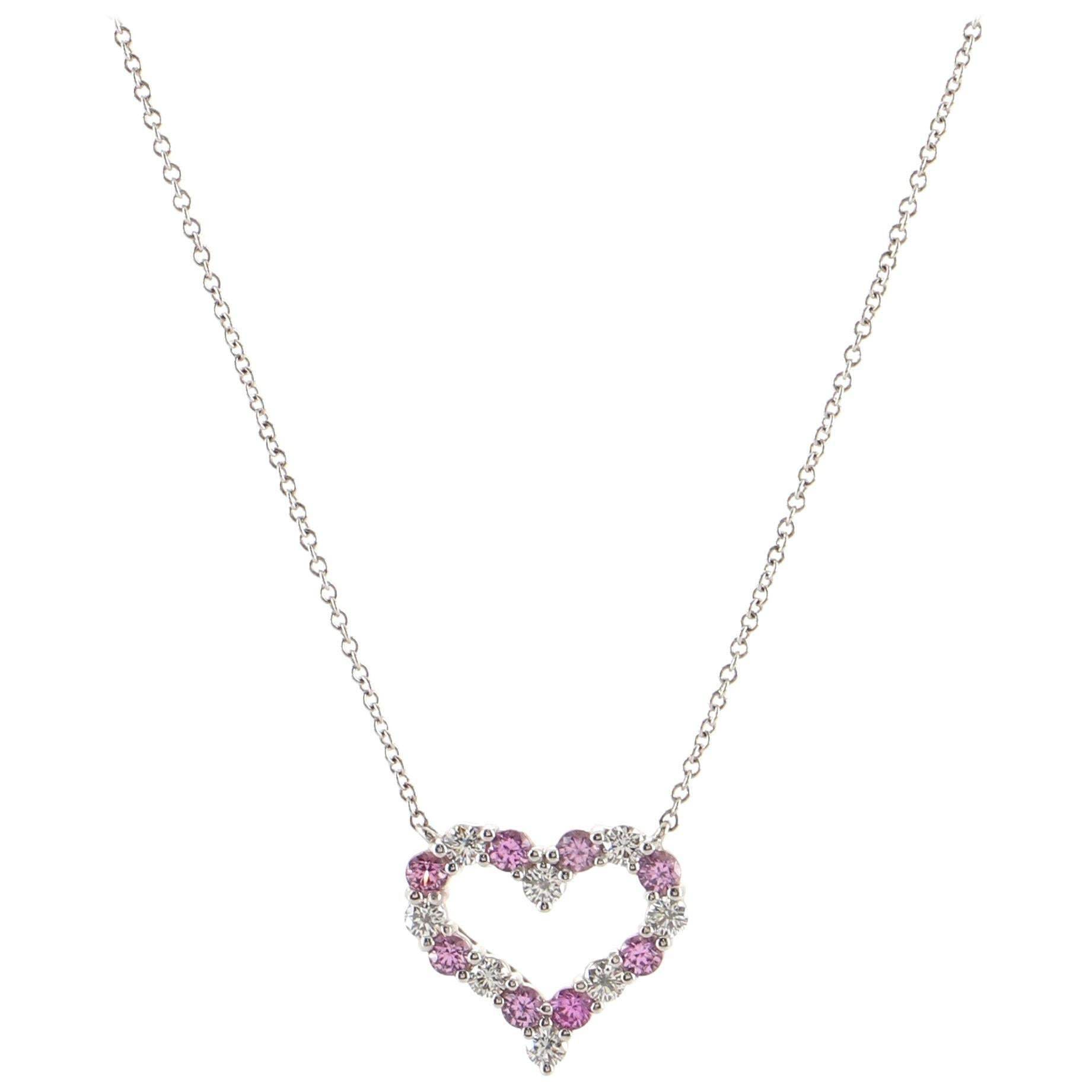 Tiffany & Co. Sentimental Heart Pendant Necklace Platinum with Diamonds and Pink
