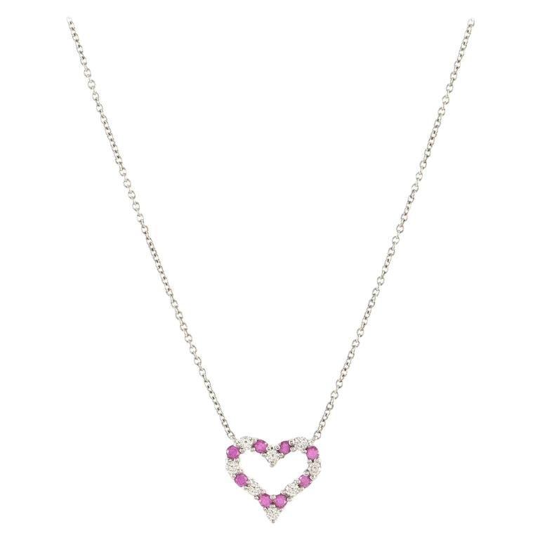 Tiffany & Co. Sentimental Heart Pendant Necklace Platinum with Diamonds