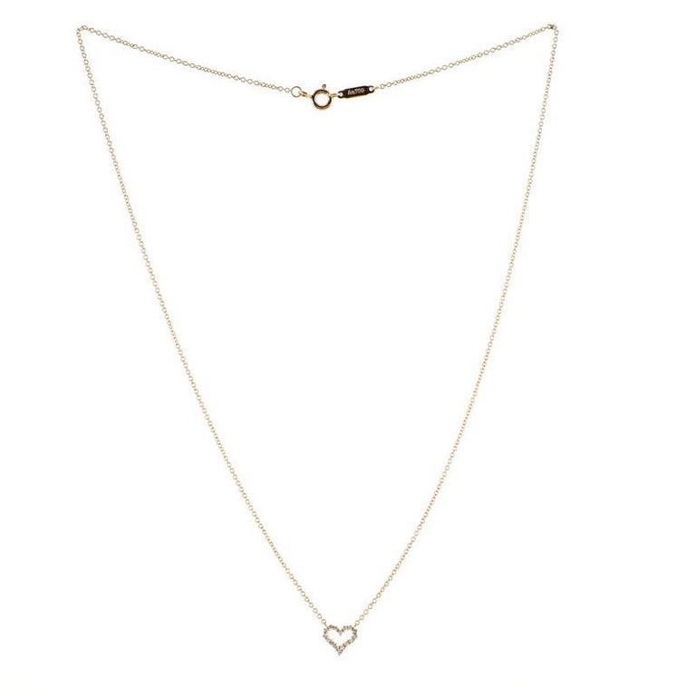 Tiffany & Co. Sentimental Heart Pendant Necklace Rose Gold and Diamond Extra In Good Condition For Sale In New York, NY