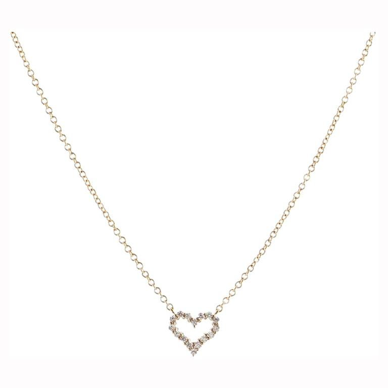 Tiffany & Co. Sentimental Heart Pendant Necklace Rose Gold and Diamond Extra For Sale