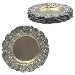 Tiffany & Co. Set of 6 Sterling Silver 1882 Coasters Dishes in Olympian Pattern