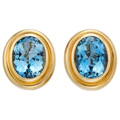 Tiffany & Co. Set of Aquamarine 18 Karat Yellow Gold Earrings