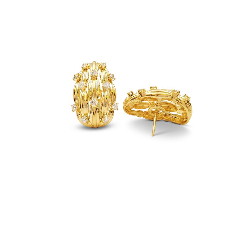 Round Cut Tiffany & Co. Signature Series Gold and Diamond Earrings For Sale