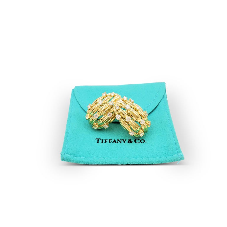 Tiffany & Co. Signature Series Gold and Diamond Earrings For Sale 1