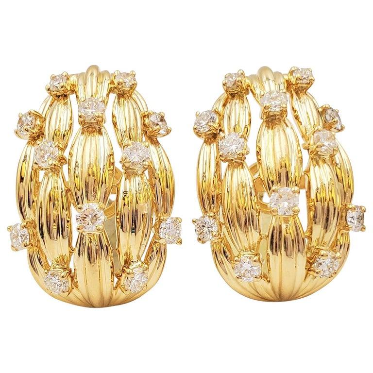 Tiffany & Co. Signature Series Gold and Diamond Earrings For Sale