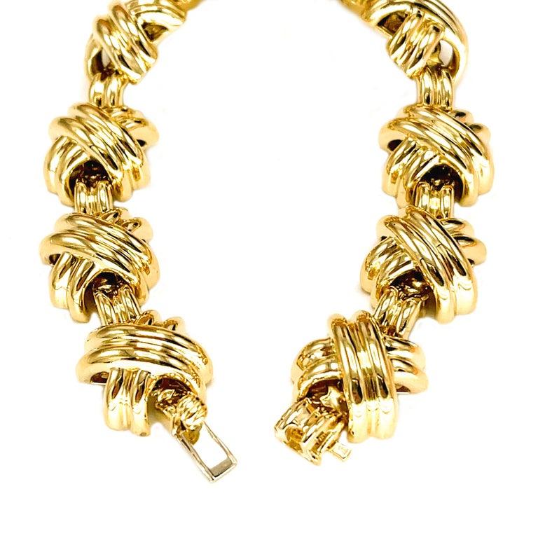 Women's Tiffany & Co. Signature X 18k Yellow Gold Classic Vintage Link Bracelet For Sale