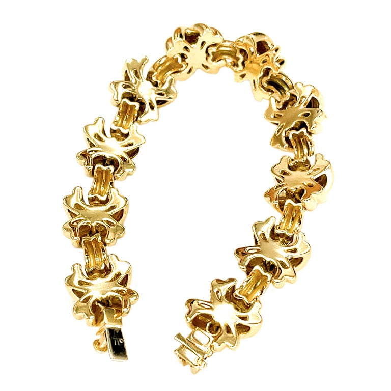 Tiffany & Co. Signature X 18k Yellow Gold Classic Vintage Link Bracelet For Sale 2