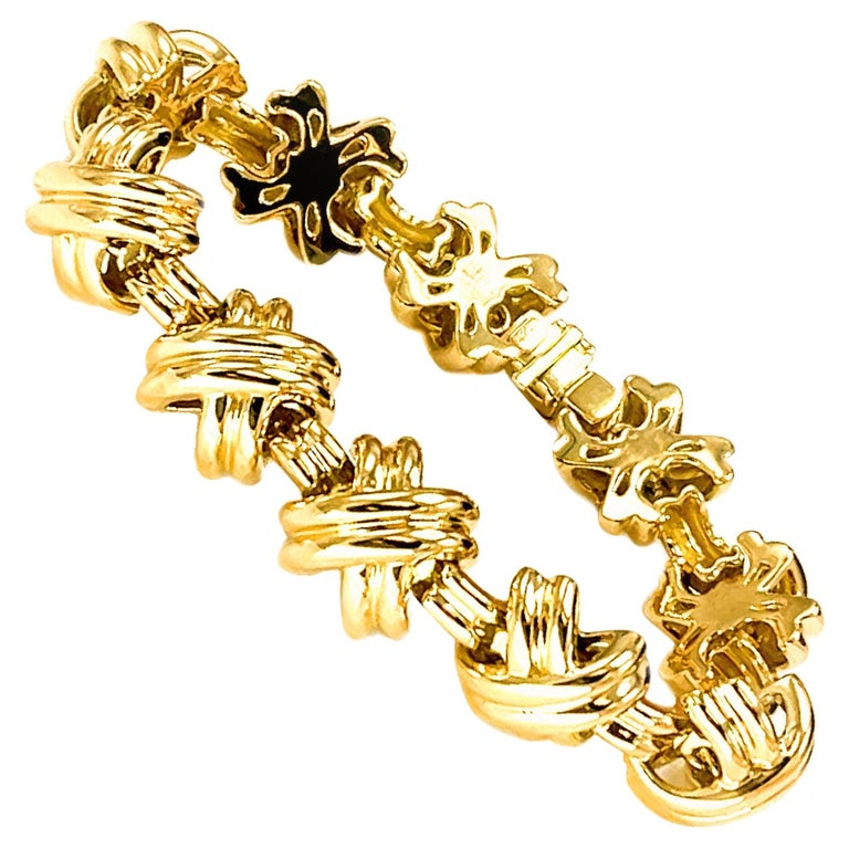 Tiffany & Co. Signature X 18k Yellow Gold Classic Vintage Link Bracelet For Sale