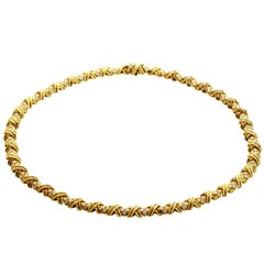 Tiffany & Co. Signature X Collection Diamond Yellow Gold Necklace