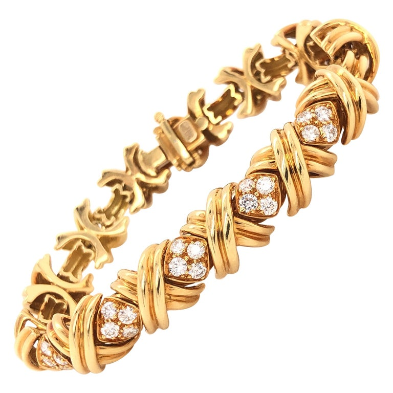 Tiffany & Co. Signature X Diamond 18 Karat Gold Bracelet For Sale